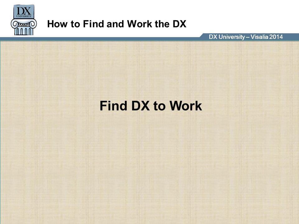 DX University – Visalia 2014DX University – Visalia 201 How to Find and Work the DX Find DX to Work