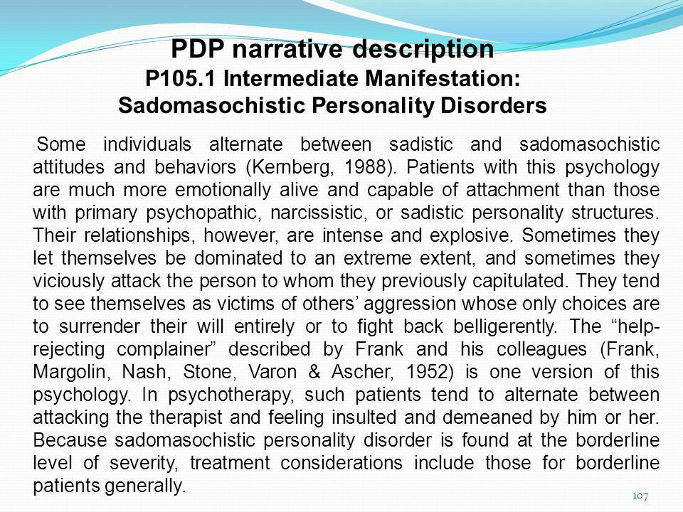 Psychodynamic Diagnostic Prototypes (PDP) Francesco Gazzillo, PhD Department of Dynamic and Clinical Psychology «Sapienza» University of Rome 106