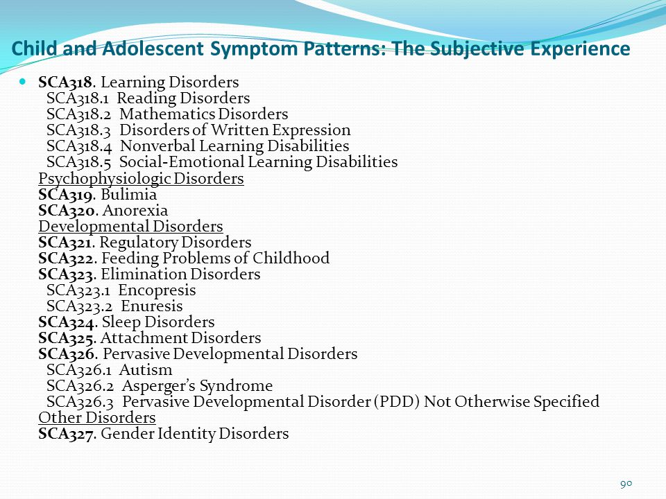 Child and Adolescent Symptom Patterns: The Subjective Experience Anxiety Disorders SCA301. Anxiety Disorders SCA302. Phobias SCA303. Obsessive-Compuls