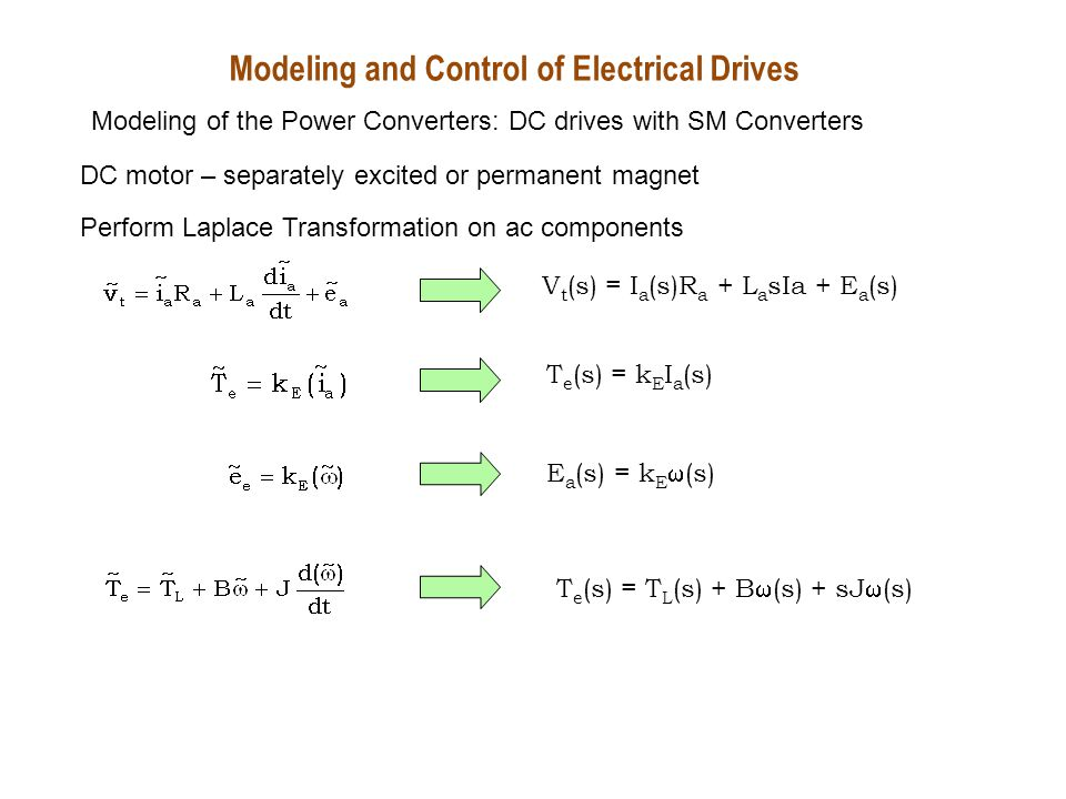 + - - + DC motor – separately excited or permanent magnet Modeling and Control of Electrical Drives Modeling of the Power Converters: DC drives with SM Converters