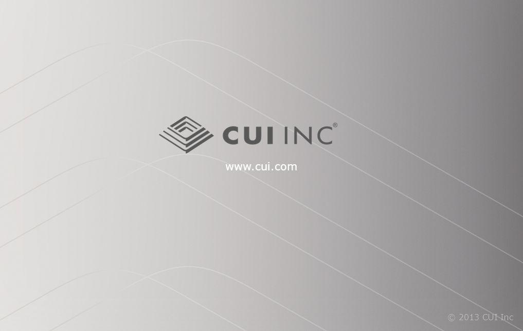 © 2013 CUI Inc www.cui.com