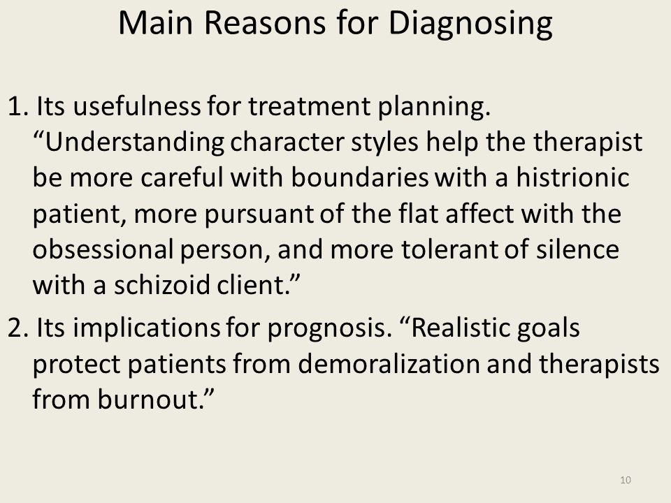Main Reasons for Diagnosing 1.Its usefulness for treatment planning.