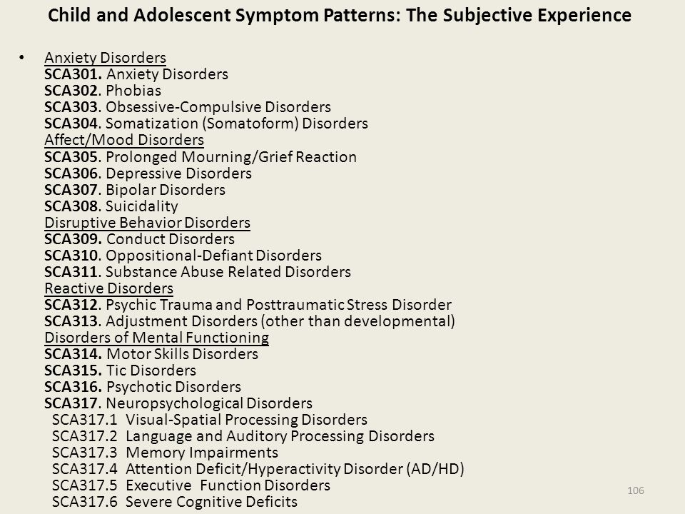 Child and Adolescent Symptom Patterns: The Subjective Experience Anxiety Disorders SCA301.