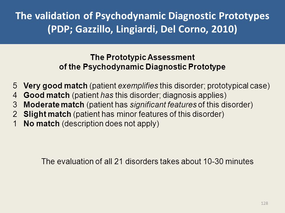 The validation of Psychodynamic Diagnostic Prototypes (PDP; Gazzillo, Lingiardi, Del Corno, 2010) The Prototypic Assessment of the Psychodynamic Diagnostic Prototype 5 Very good match (patient exemplifies this disorder; prototypical case) 4 Good match (patient has this disorder; diagnosis applies) 3 Moderate match (patient has significant features of this disorder) 2 Slight match (patient has minor features of this disorder) 1 No match (description does not apply) The evaluation of all 21 disorders takes about 10-30 minutes 128