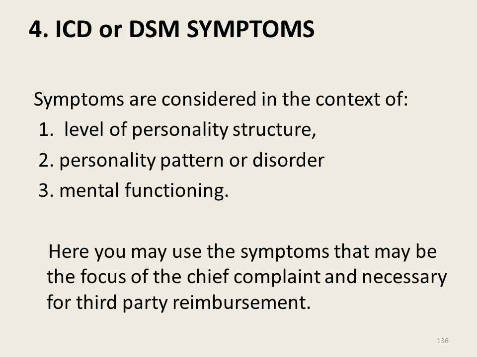 4.ICD or DSM SYMPTOMS Symptoms are considered in the context of: 1.