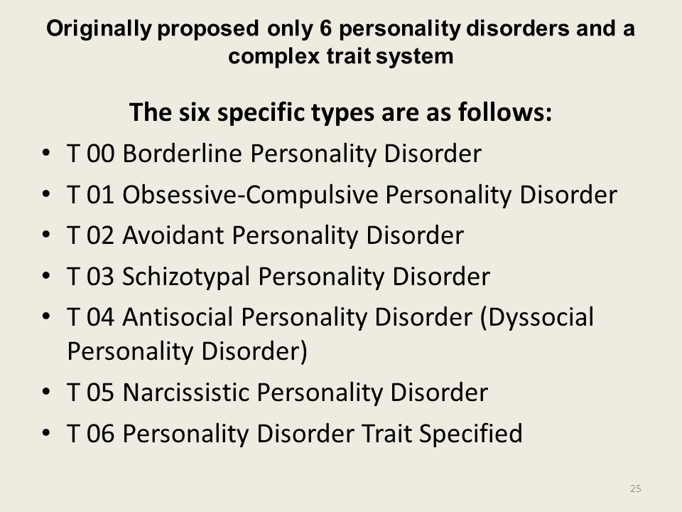 Originally proposed only 6 personality disorders and a complex trait system The six specific types are as follows: T 00 Borderline Personality Disorder T 01 Obsessive-Compulsive Personality Disorder T 02 Avoidant Personality Disorder T 03 Schizotypal Personality Disorder T 04 Antisocial Personality Disorder (Dyssocial Personality Disorder) T 05 Narcissistic Personality Disorder T 06 Personality Disorder Trait Specified 25