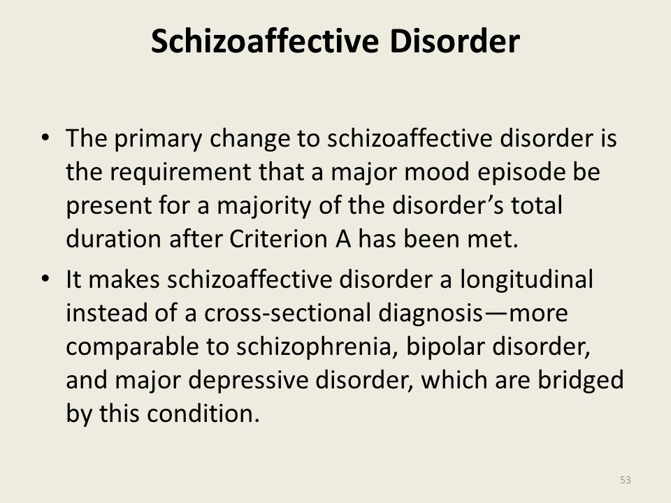 Schizoaffective Disorder The primary change to schizoaffective disorder is the requirement that a major mood episode be present for a majority of the disorder's total duration after Criterion A has been met.