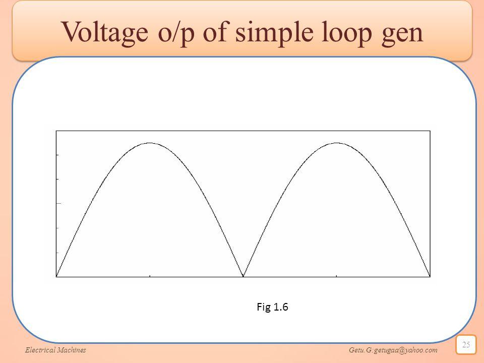 Voltage o/p of simple loop gen Electrical Machines Getu.G:getugaa@yahoo.com 25 Fig 1.6