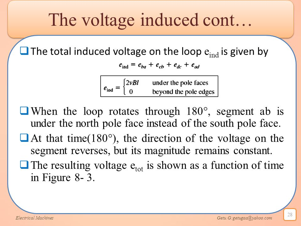 The voltage induced cont…  The total induced voltage on the loop e ind is given by  When the loop rotates through 180°, segment ab is under the nort