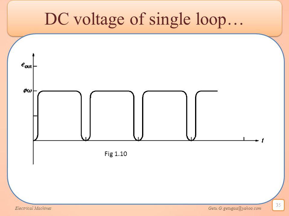 DC voltage of single loop… Electrical Machines Getu.G:getugaa@yahoo.com 35 Fig 1.10