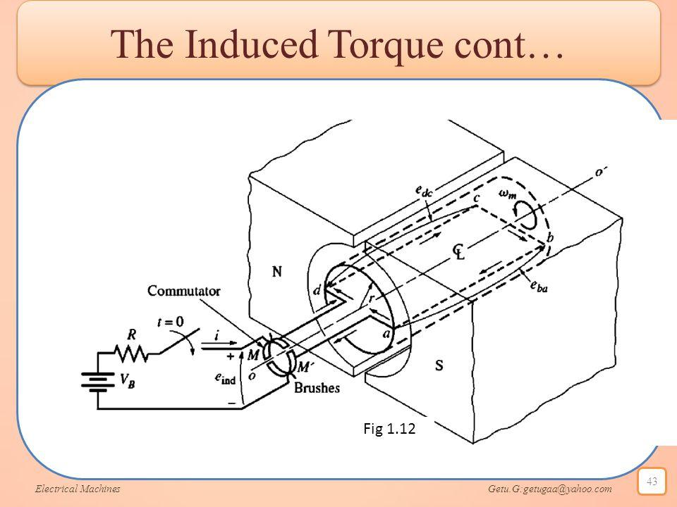 The Induced Torque cont… Electrical Machines Getu.G:getugaa@yahoo.com 43 Fig 1.12