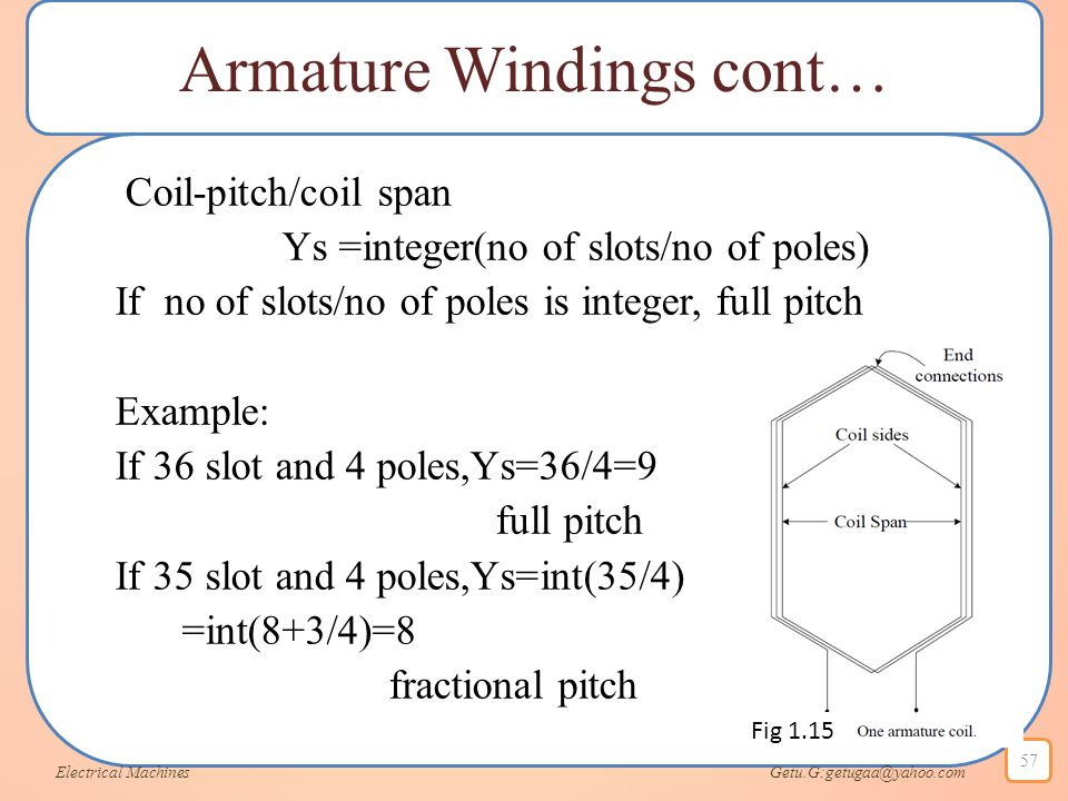 Armature Windings cont… Coil-pitch/coil span Ys =integer(no of slots/no of poles) If no of slots/no of poles is integer, full pitch Example: If 36 slo