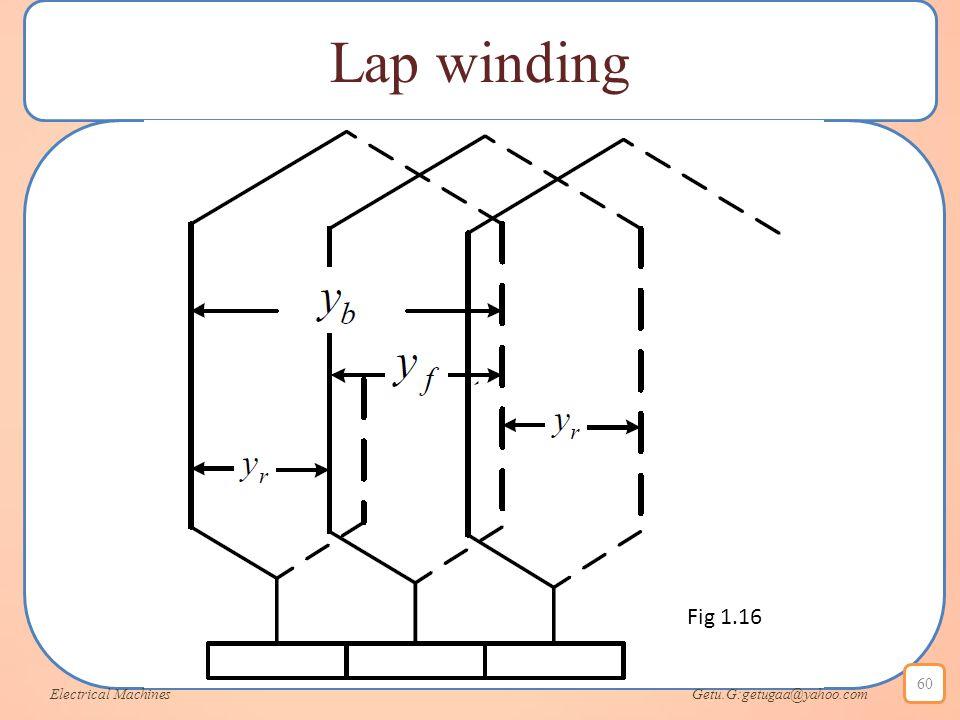 Lap winding Electrical Machines Getu.G:getugaa@yahoo.com 60 Fig 1.16
