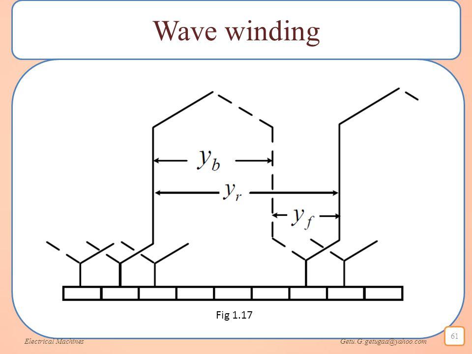 Wave winding Electrical Machines Getu.G:getugaa@yahoo.com 61 Fig 1.17