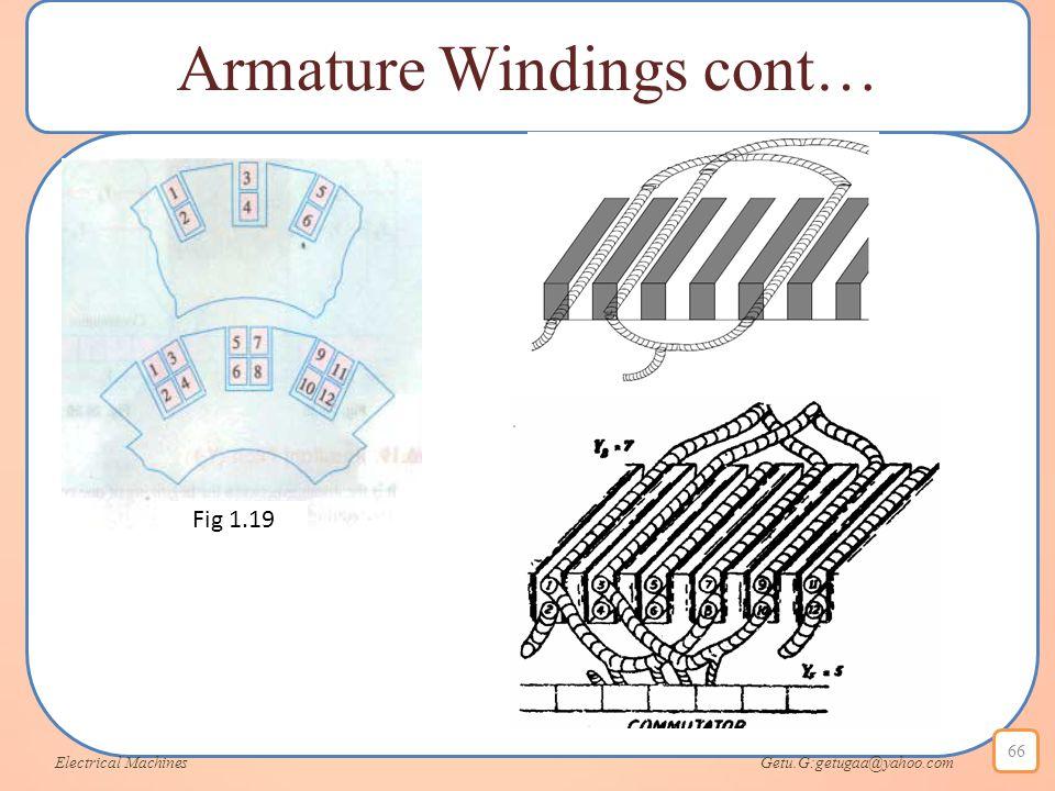 Armature Windings cont… Electrical Machines Getu.G:getugaa@yahoo.com 66 Fig 1.19