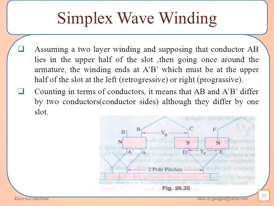 Simplex Wave Winding  Assuming a two layer winding and supposing that conductor AB lies in the upper half of the slot,then going once around the arma