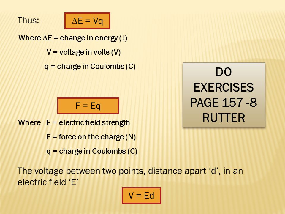 ANS: Voltage (sometimes also called electric or electrical tension) is the difference of electric potential between two points of an electrical or electronic circuit, expressed in volts V = I/q Where V = voltage in volts (V) I = current in amps (A) q = charge in Coulombs (C) Symbol : VUnits: Volts (V) Often thought of as the change in energy as the charge moves between two points.