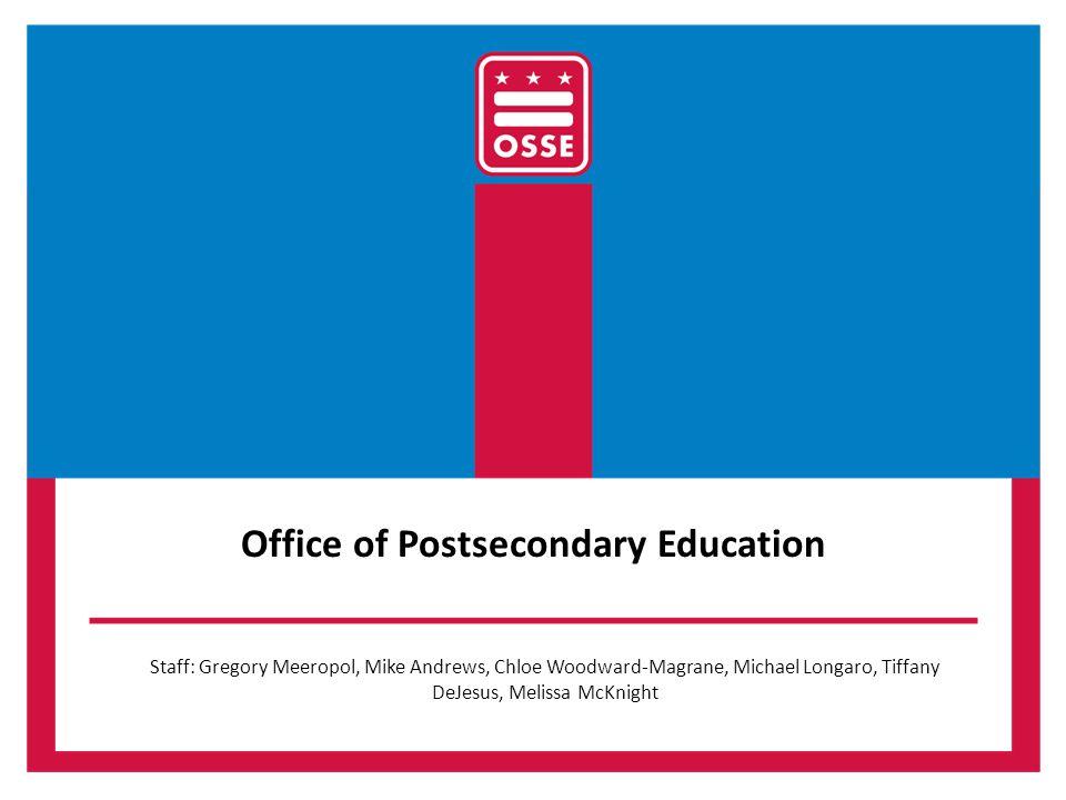 Office of Postsecondary Education Staff: Gregory Meeropol, Mike Andrews, Chloe Woodward-Magrane, Michael Longaro, Tiffany DeJesus, Melissa McKnight