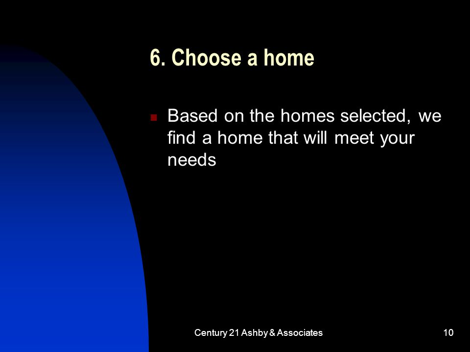 Century 21 Ashby & Associates10 6. Choose a home Based on the homes selected, we find a home that will meet your needs