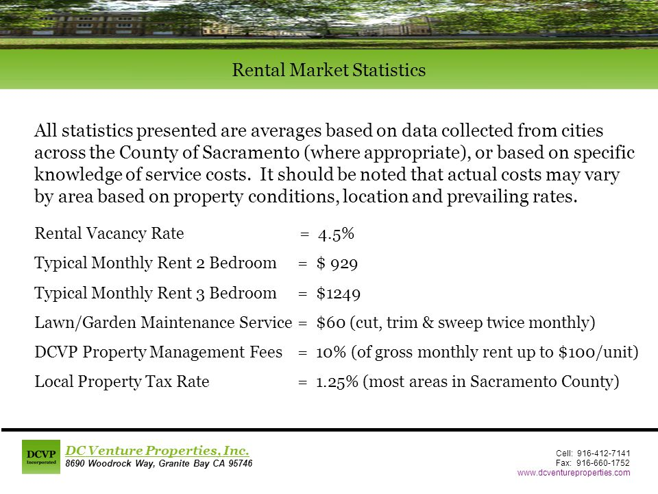 Rental Vacancy Rate = 4.5% Typical Monthly Rent 2 Bedroom = $ 929 Typical Monthly Rent 3 Bedroom = $1249 Lawn/Garden Maintenance Service= $60 (cut, trim & sweep twice monthly) DCVP Property Management Fees = 10% (of gross monthly rent up to $100/unit) Local Property Tax Rate= 1.25% (most areas in Sacramento County) Cell: 916-412-7141 Fax: 916-660-1752 www.dcventureproperties.com DC Venture Properties, Inc.