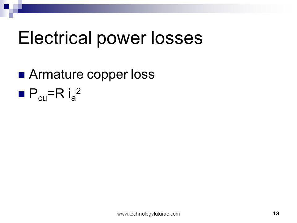 Electrical power losses Armature copper loss P cu =R i a 2 13www.technologyfuturae.com