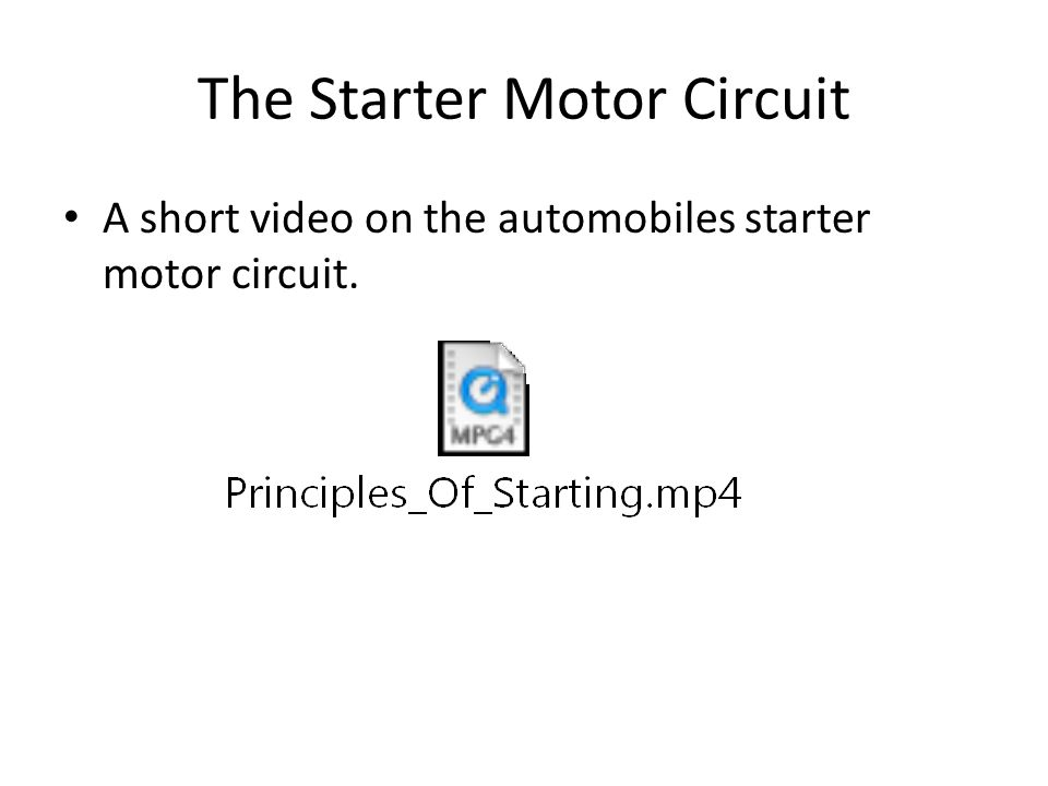 The Starter Motor Circuit A short video on the automobiles starter motor circuit.