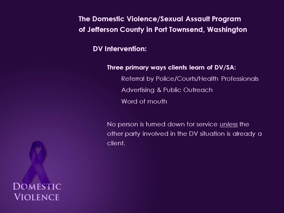 The Domestic Violence/Sexual Assault Program of Jefferson County in Port Townsend, Washington DV Intervention: Steps for client intake: Client meets with advocate to discuss needs Pertinent information is gathered Intake paperwork is signed, including: Release of Information Client's Rights State Intake Form for reporting to OCVA Rules for Shelter (if applicable) Confidentiality Agreement (if applicable) Client meets legal advocate if needed