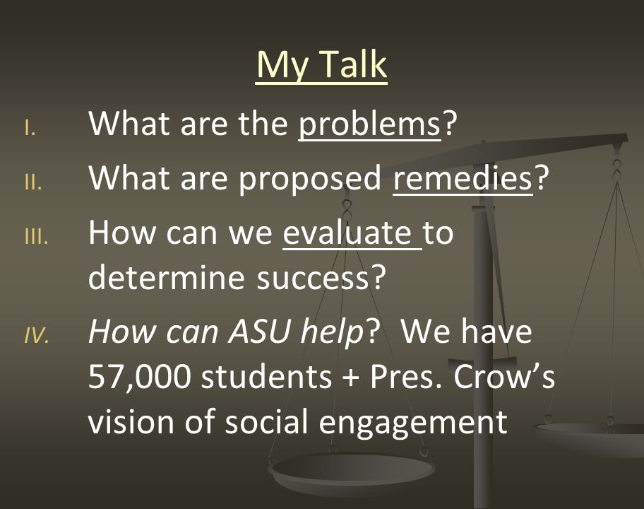 My Talk I. I. What are the problems. II. II. What are proposed remedies.