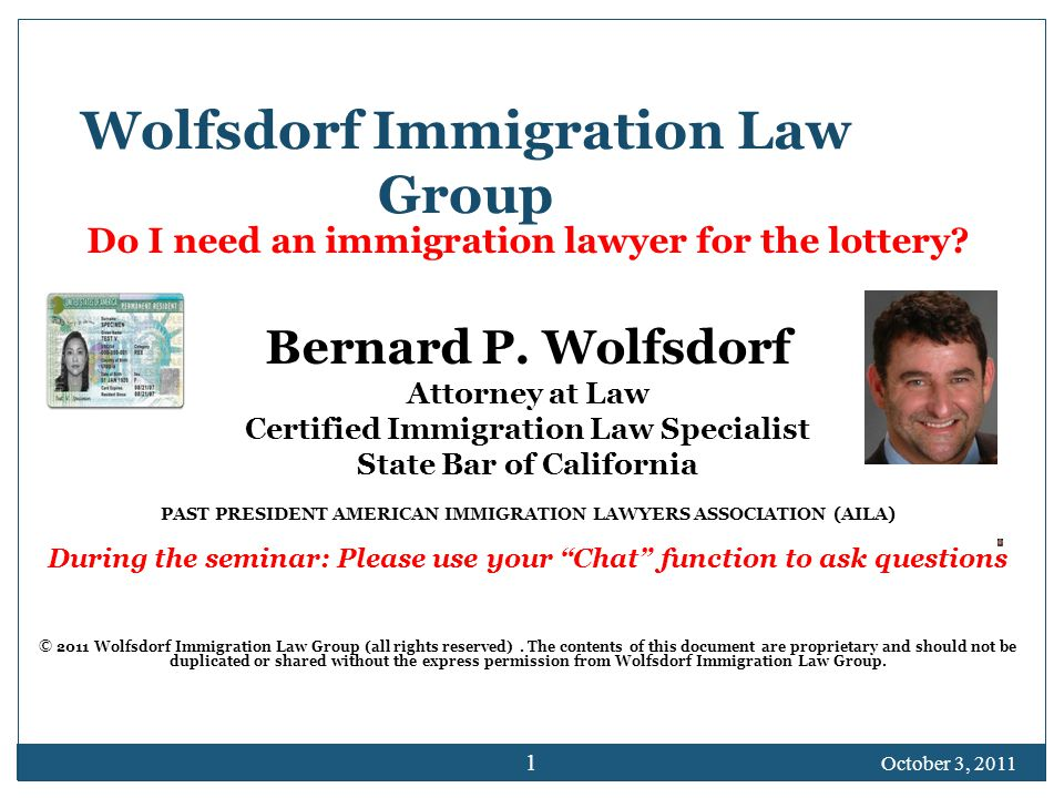 Wolfsdorf Immigration Law Group Do I need an immigration lawyer for the lottery.