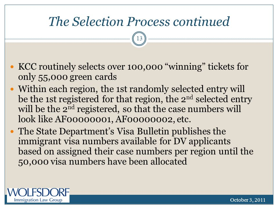 The Selection Process continued KCC routinely selects over 100,000 winning tickets for only 55,000 green cards Within each region, the 1st randomly selected entry will be the 1st registered for that region, the 2 nd selected entry will be the 2 nd registered, so that the case numbers will look like AF00000001, AF00000002, etc.