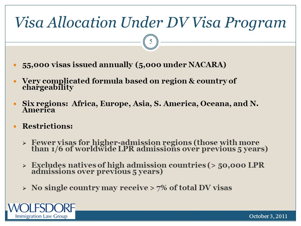 Visa Allocation Under DV Visa Program 55,000 visas issued annually (5,000 under NACARA) Very complicated formula based on region & country of chargeability Six regions: Africa, Europe, Asia, S.