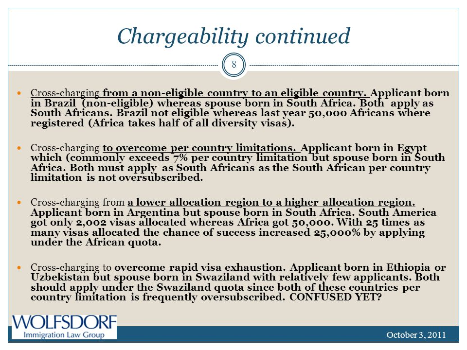 Chargeability continued Cross-charging from a non-eligible country to an eligible country.