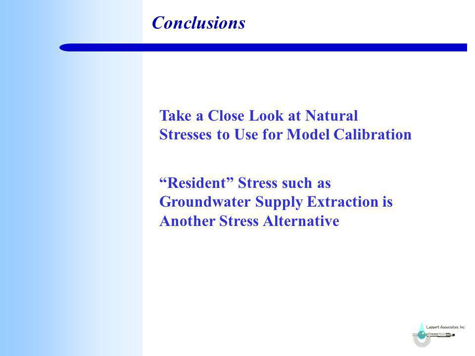 Conclusions Take a Close Look at Natural Stresses to Use for Model Calibration Resident Stress such as Groundwater Supply Extraction is Another Stress Alternative