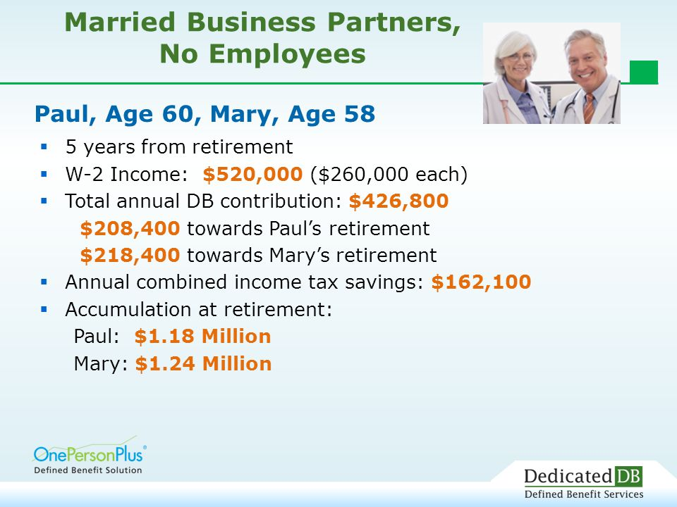 Paul, Age 60, Mary, Age 58  5 years from retirement  W-2 Income: $520,000 ($260,000 each)  Total annual DB contribution: $426,800 $208,400 towards Paul's retirement $218,400 towards Mary's retirement  Annual combined income tax savings: $162,100  Accumulation at retirement: Paul: $1.18 Million Mary: $1.24 Million Married Business Partners, No Employees
