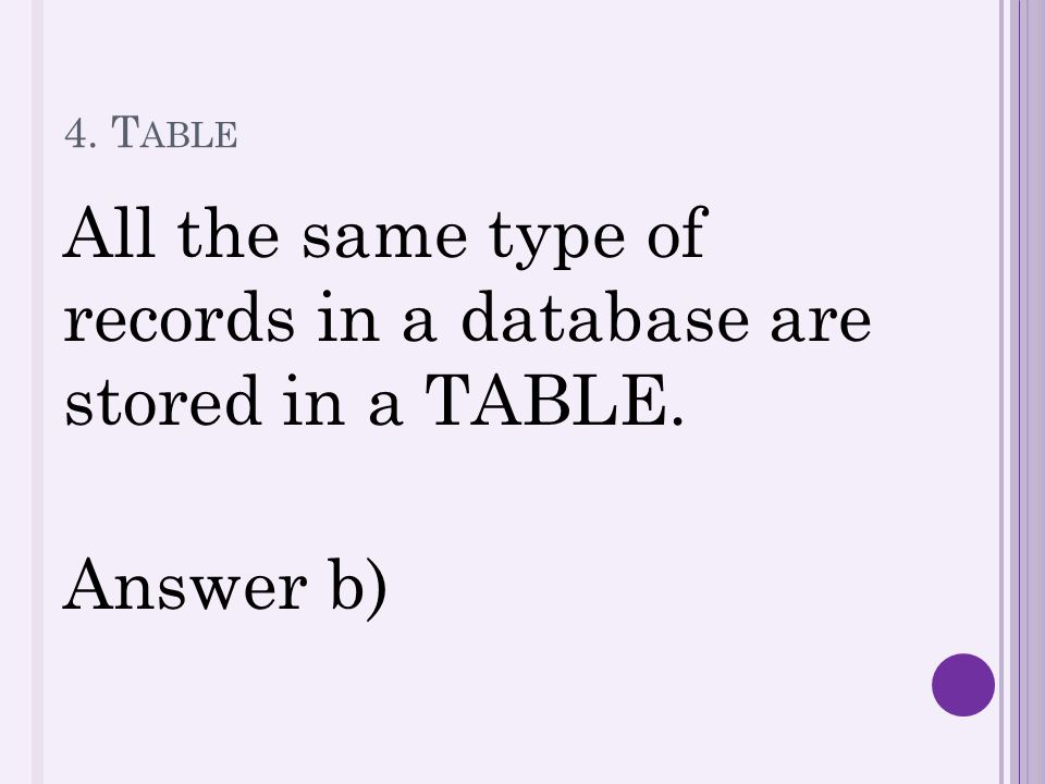 4. T ABLE All the same type of records in a database are stored in a TABLE. Answer b)