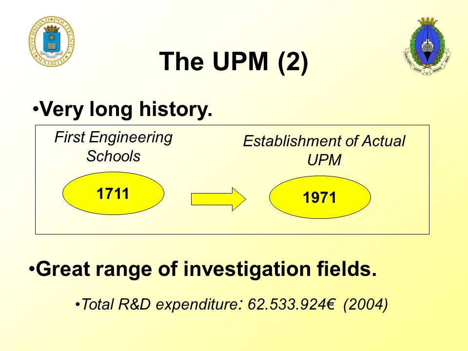 The UPM (2) Very long history. Great range of investigation fields. Total R&D expenditure : 62.533.924€ (2004) 1711 1971 First Engineering Schools Est