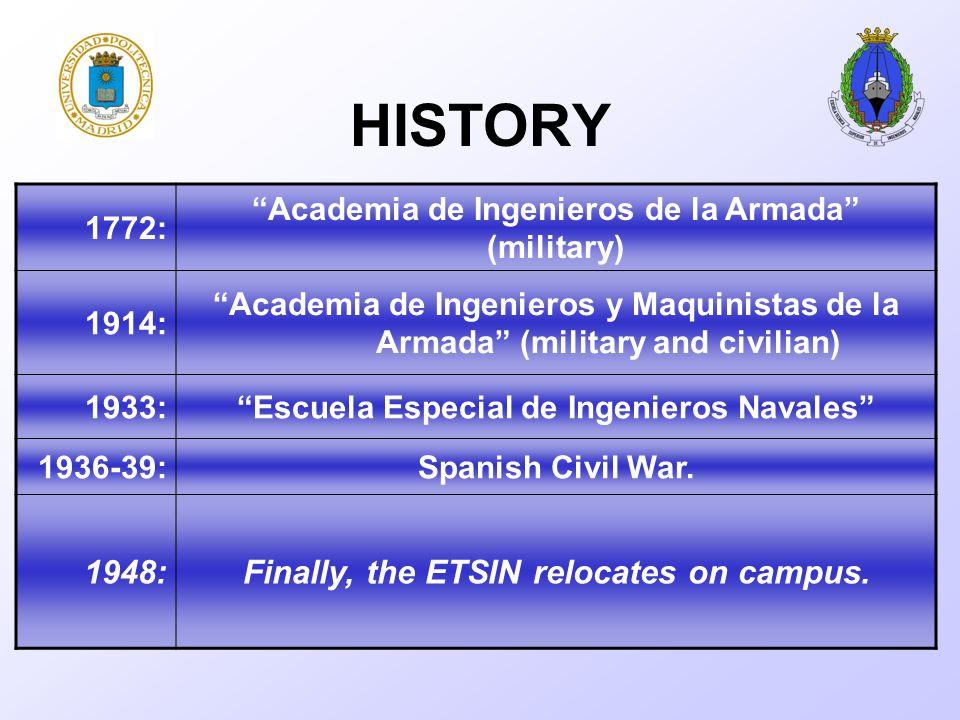 HISTORY 1772: Academia de Ingenieros de la Armada (military) 1914: Academia de Ingenieros y Maquinistas de la Armada (military and civilian) 1933: Escuela Especial de Ingenieros Navales 1936-39:Spanish Civil War.