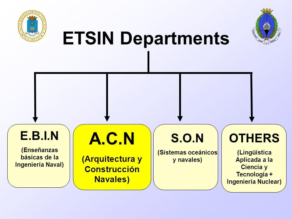 E.B.I.N (Enseñanzas básicas de la Ingeniería Naval) A.C.N (Arquitectura y Construcción Navales) S.O.N (Sistemas oceánicos y navales) OTHERS (Lingüística Aplicada a la Ciencia y Tecnología + Ingeniería Nuclear) ETSIN Departments