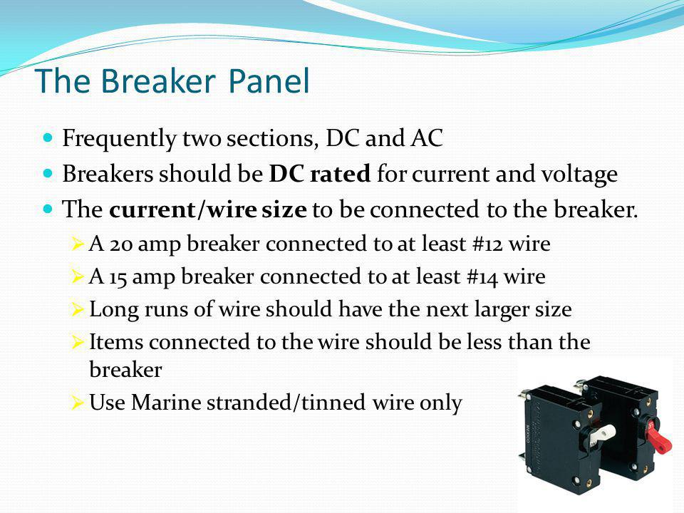 The Breaker Panel Frequently two sections, DC and AC Breakers should be DC rated for current and voltage The current/wire size to be connected to the breaker.