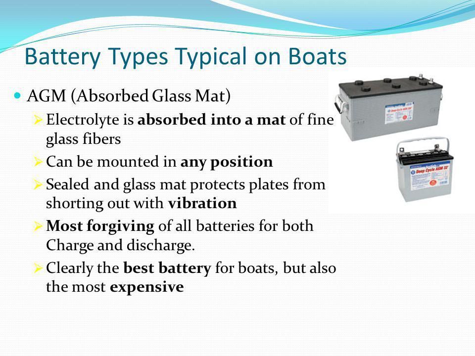 Battery Types Typical on Boats AGM (Absorbed Glass Mat)  Electrolyte is absorbed into a mat of fine glass fibers  Can be mounted in any position  Sealed and glass mat protects plates from shorting out with vibration  Most forgiving of all batteries for both Charge and discharge.