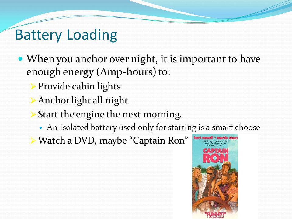 Battery Loading When you anchor over night, it is important to have enough energy (Amp-hours) to:  Provide cabin lights  Anchor light all night  Start the engine the next morning.