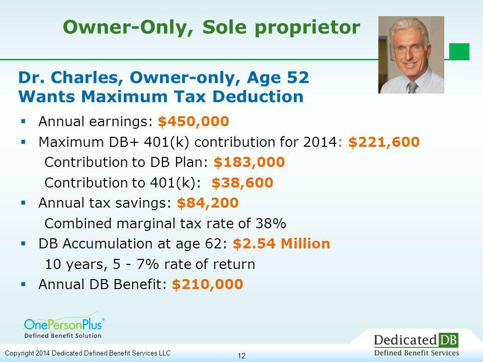 12 Owner-Only, Sole proprietor  Annual earnings: $450,000  Maximum DB+ 401(k) contribution for 2014: $221,600 Contribution to DB Plan: $183,000 Contribution to 401(k): $38,600  Annual tax savings: $84,200 Combined marginal tax rate of 38%  DB Accumulation at age 62: $2.54 Million 10 years, 5 - 7% rate of return  Annual DB Benefit: $210,000 Dr.
