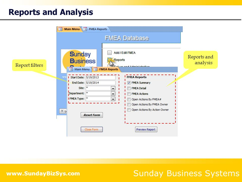 Sunday Business Systems Set-up and Configuration FMEA Database Set-up and Configuration