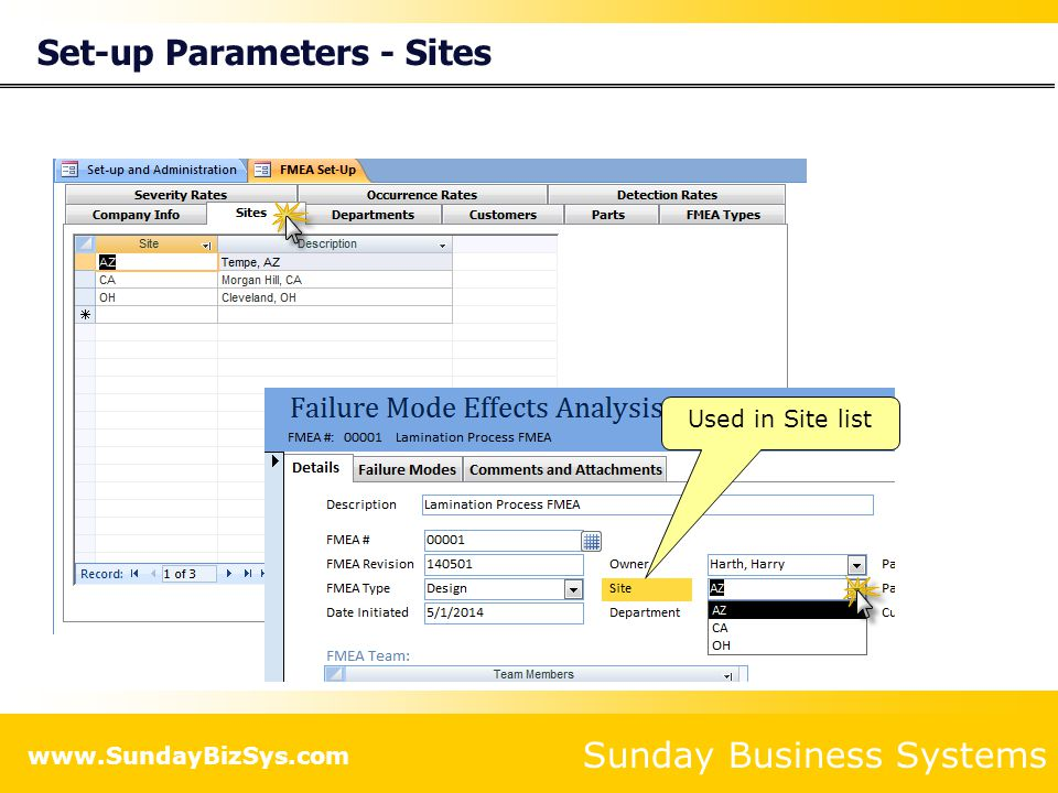 Sunday Business Systems www.SundayBizSys.com Set-up Parameters - Departments Used in Department list