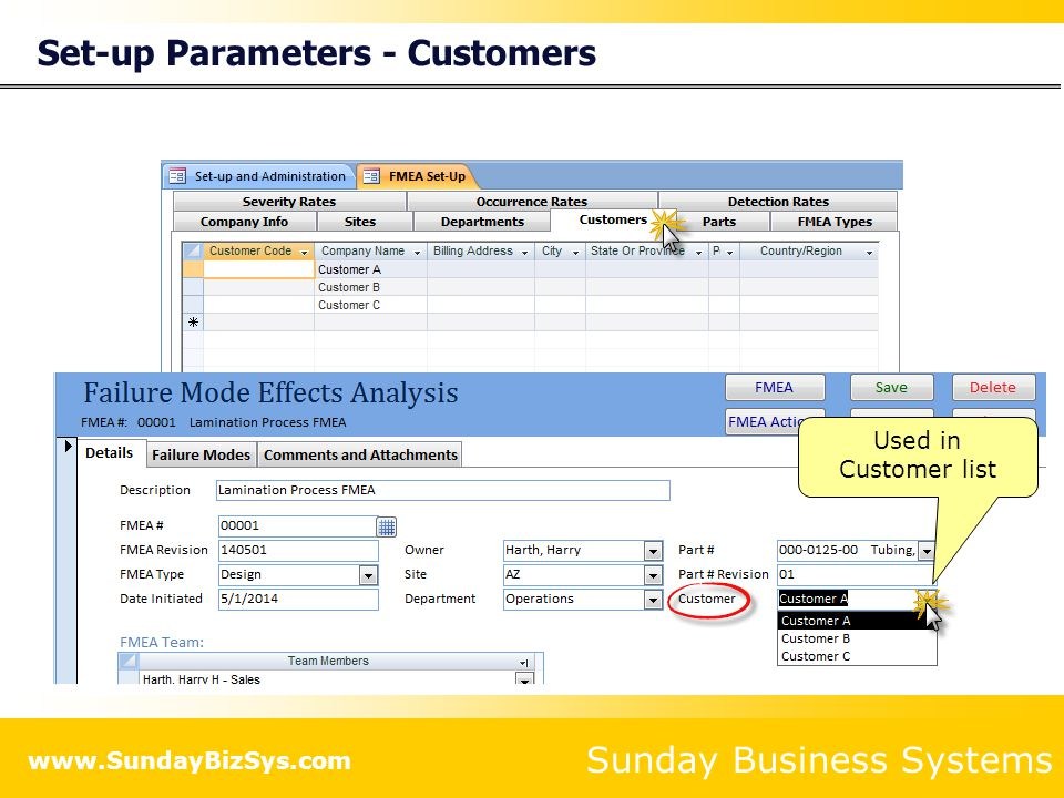 Sunday Business Systems www.SundayBizSys.com Set-up Parameters - Parts Used in Parts list