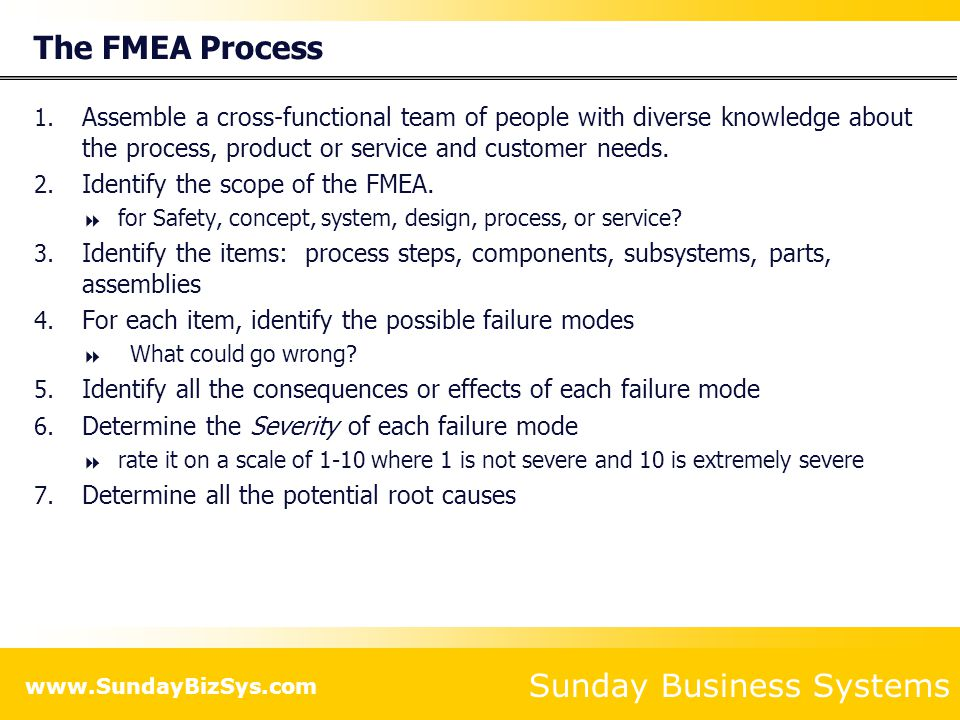 Sunday Business Systems www.SundayBizSys.com The FMEA Process 8.