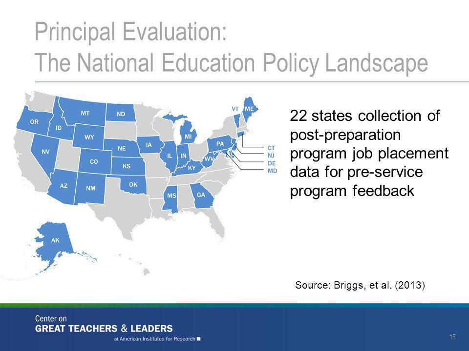 15 22 states collection of post-preparation program job placement data for pre-service program feedback Source: Briggs, et al.