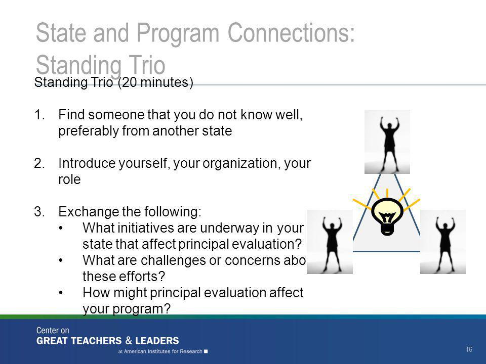 16 State and Program Connections: Standing Trio Standing Trio (20 minutes) 1.Find someone that you do not know well, preferably from another state 2.I