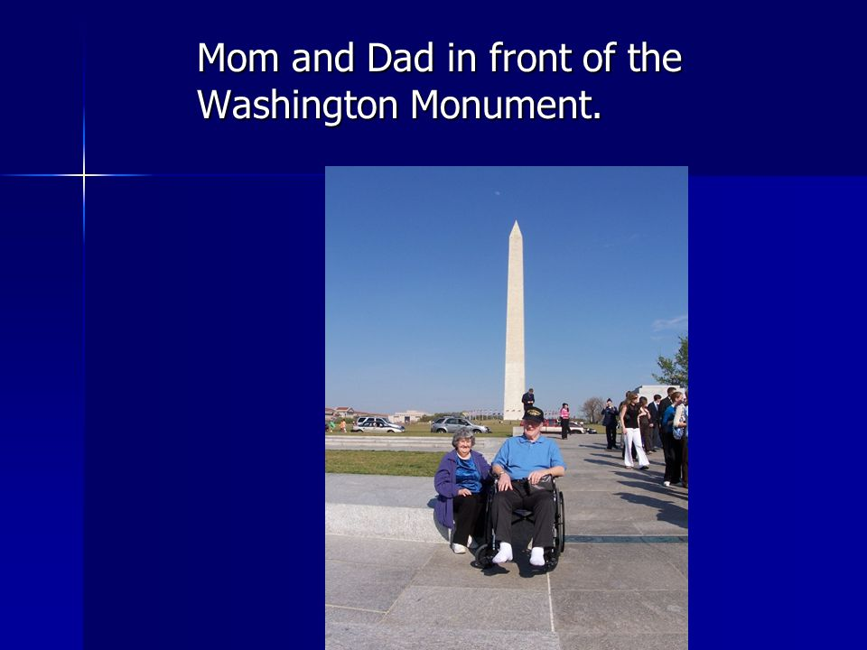 Mom and Dad in front of the Washington Monument.