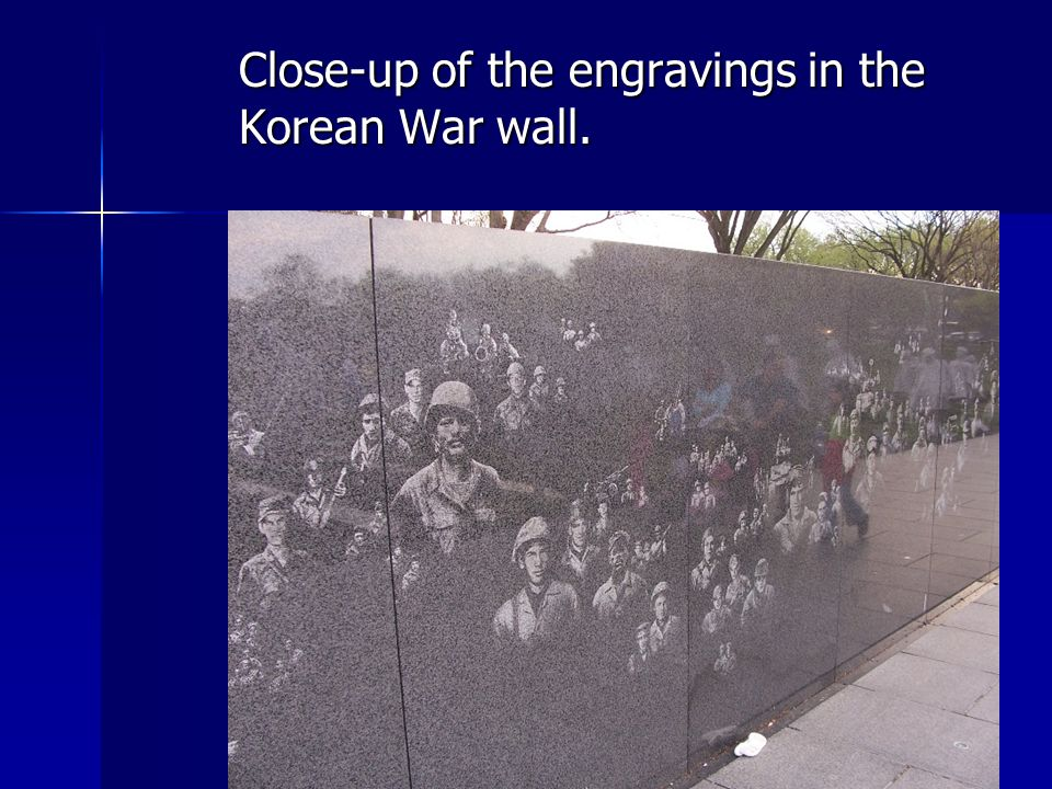 Close-up of the engravings in the Korean War wall.